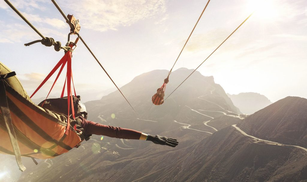 Jebel Jais Zipline falcon flight