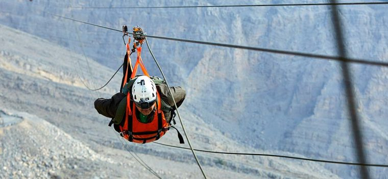 Jebel Jais Zipline geared up